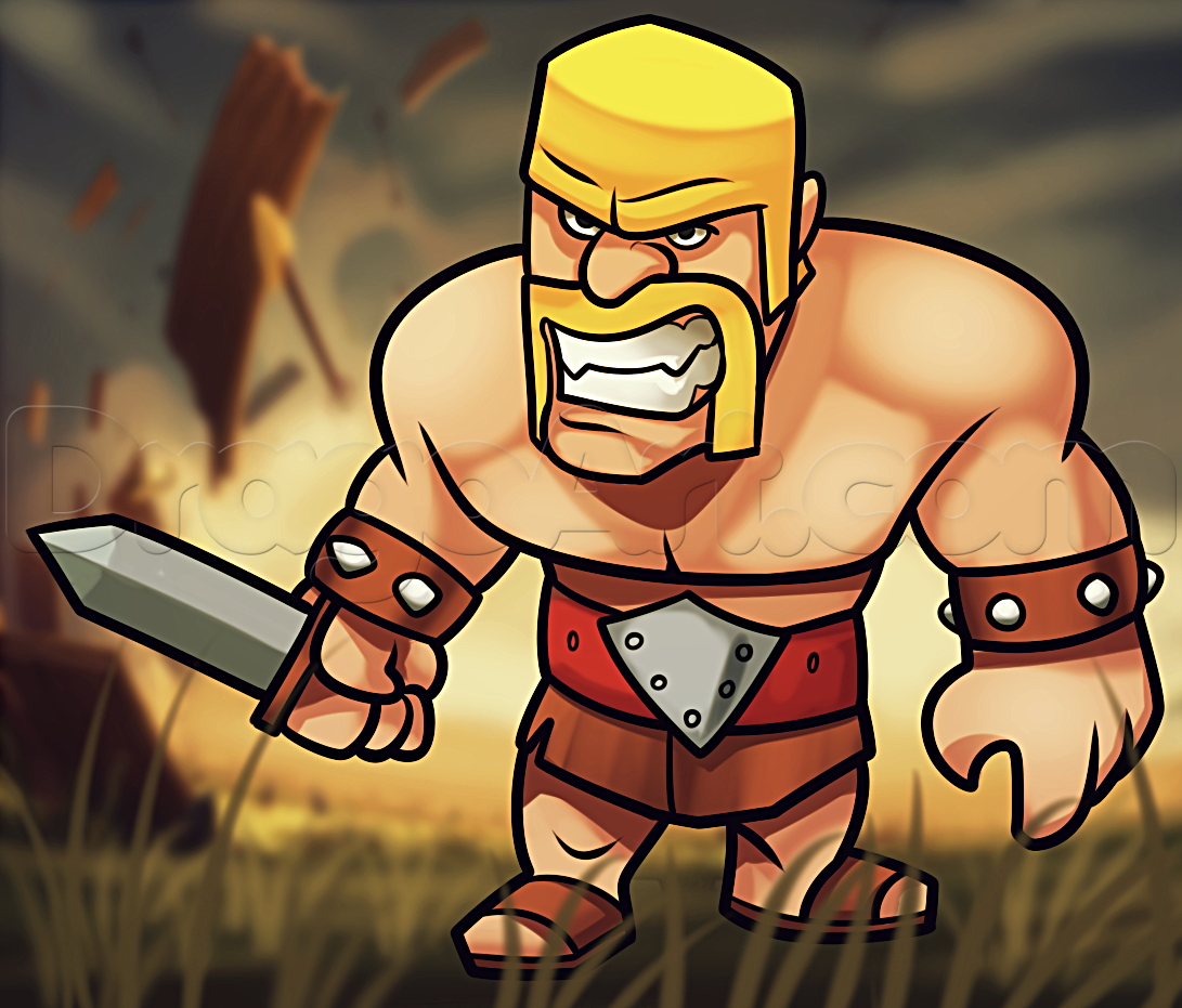 How To Draw Clash Clans Barbarian By Dawn