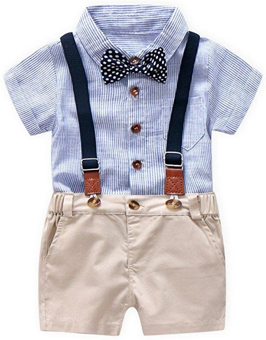 Baby Boys Gentleman Outfits Suits Little Boy Stripe Bow Tie Shirt with Shorts Overalls Clothes Set