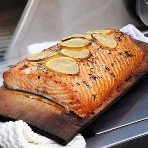 Cedar Plank Grilled Salmon:  Tired of turkey for each side of the family's meal?  Try getting fishy.