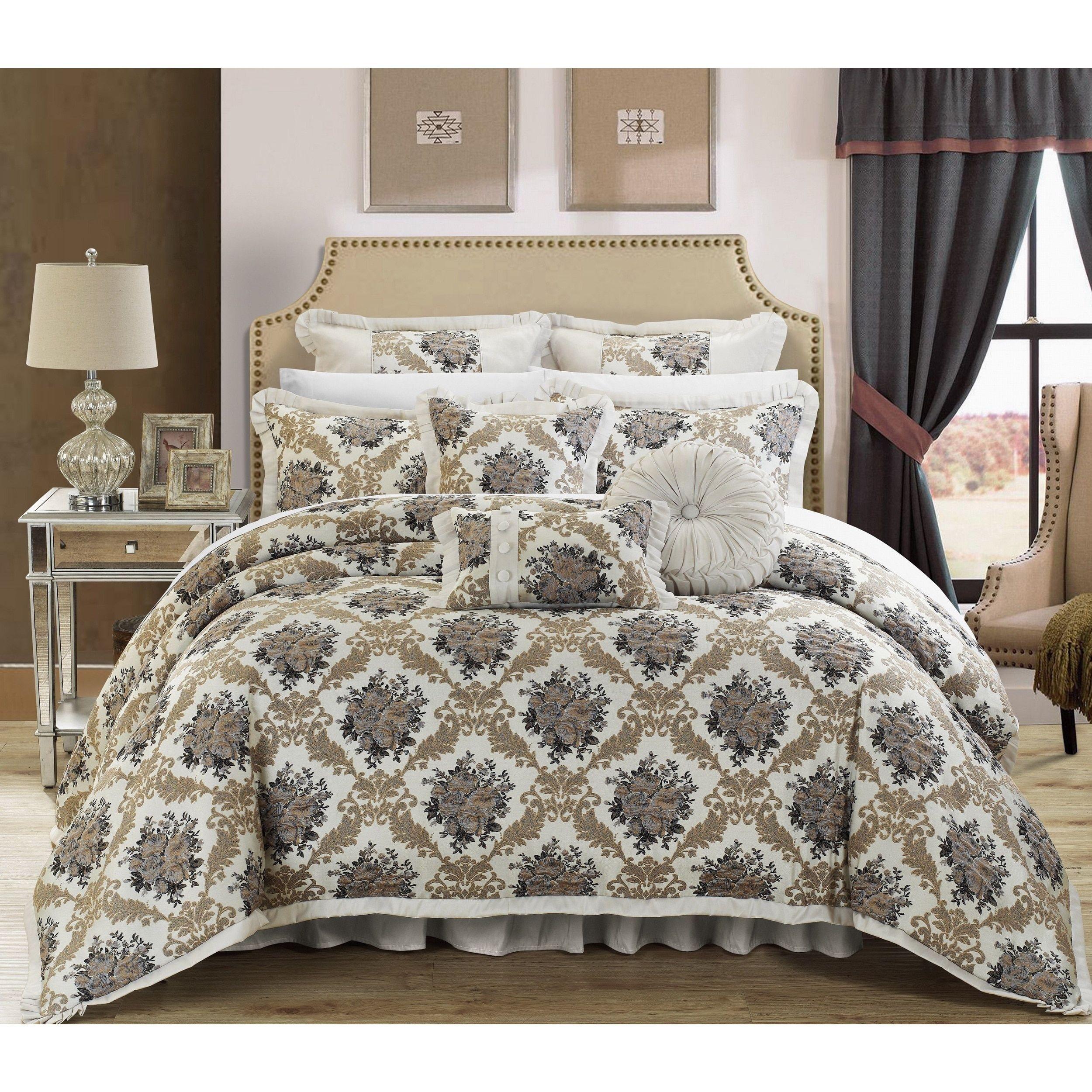 Chic Home Silver Floral Jacquard 9-piece Comforter Set
