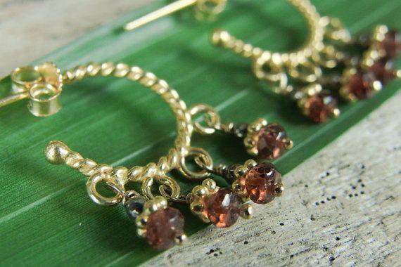 Gold Hoop Pyrite & Garnet Earrings / by AlisonStorryJewelry #artisanearrings #artisanjewelry