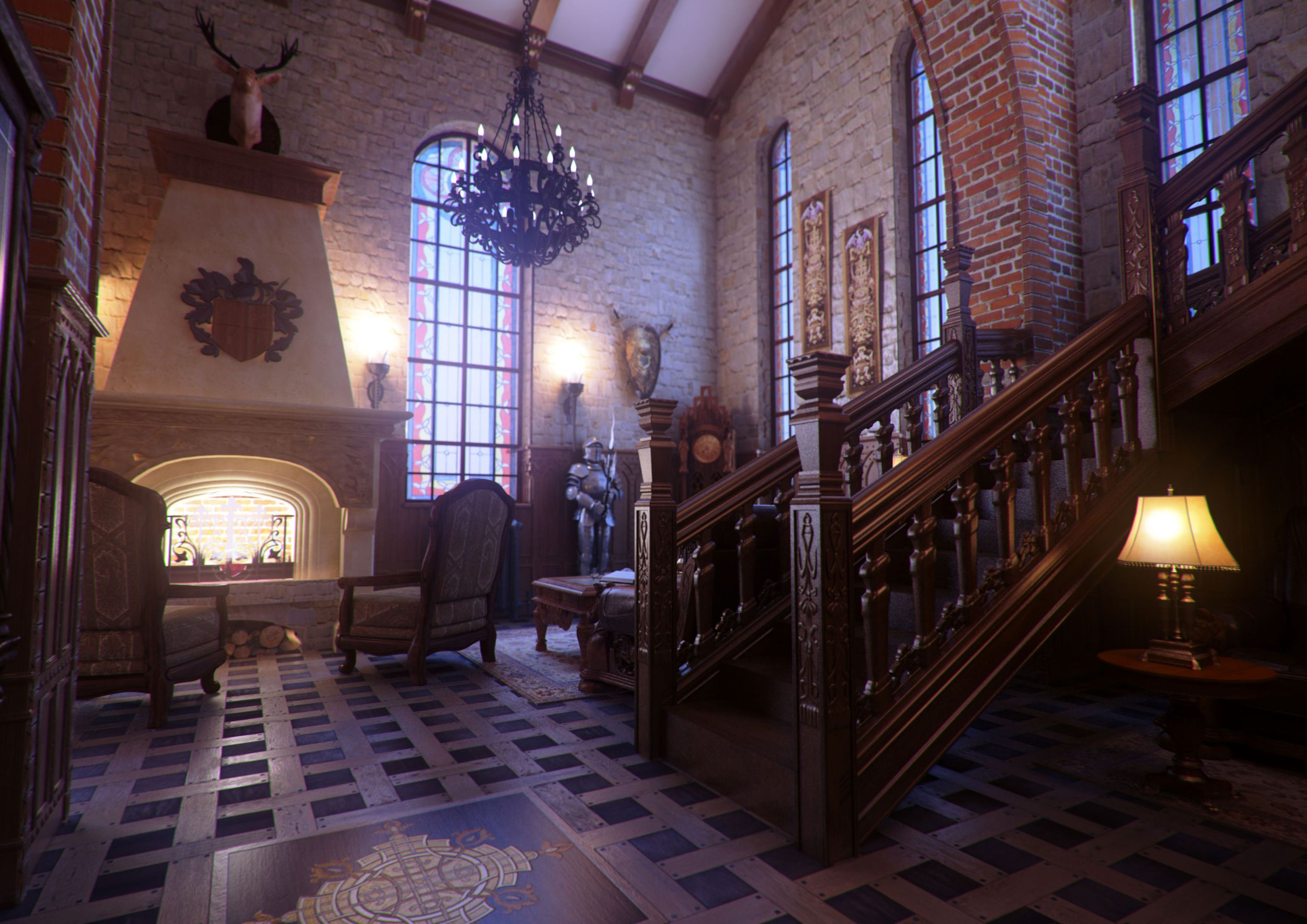 Interior , Gothic Interior Decorating For Classy And Catchy House Design :  Classical Home With High Ceiling And Gothic Design Idea