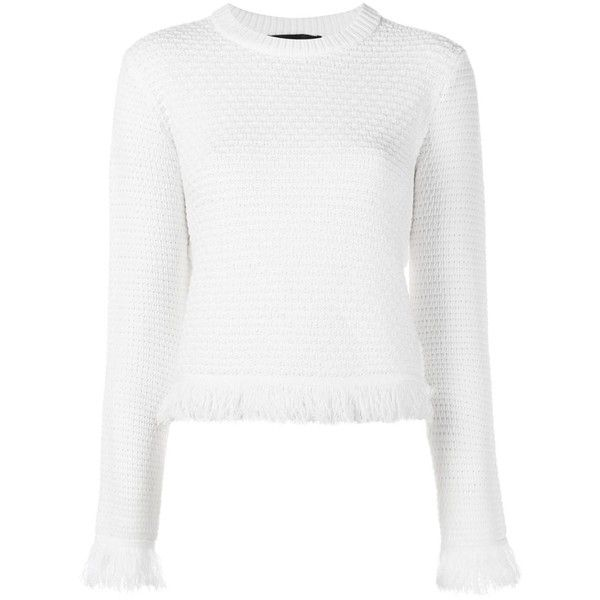 Proenza Schouler Frayed Trim Jumper (1.810 BRL) ❤ liked on Polyvore featuring tops, sweaters, white, jumpers sweaters, white top, white jumper, long sleeve tops and long sleeve sweaters