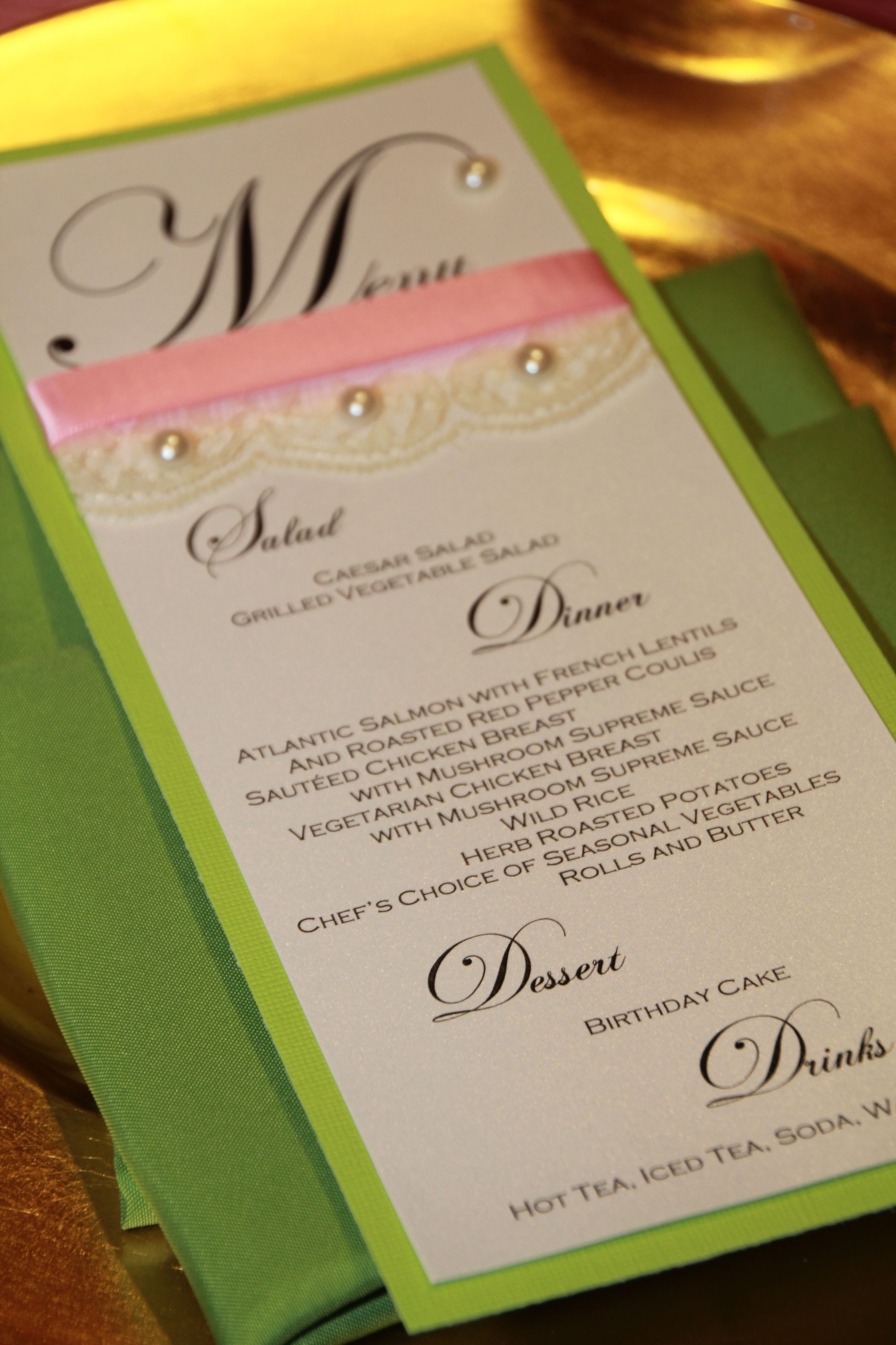 Pink and green menu card with lace and pearls for 40th birthday ...