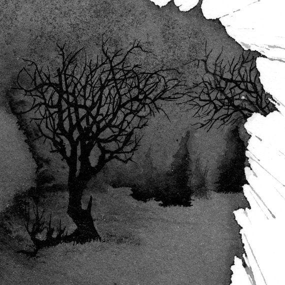 winter scene 2 original ink drawing by mattleavitt on etsy piesimo