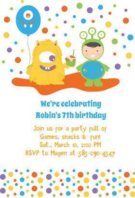 Monster Bash Printable Invitation Template Customize Add Text - Free printable monster birthday invitation templates