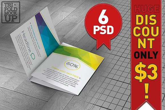 TriFold A Brochure Mockup By Akropol On Creativemarket - Free indesign tri fold brochure templates