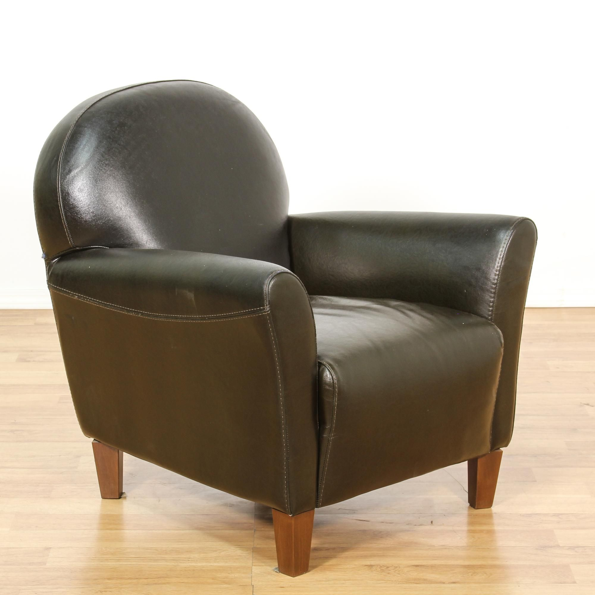 "Calia Italia"" Black Leather Armchair"