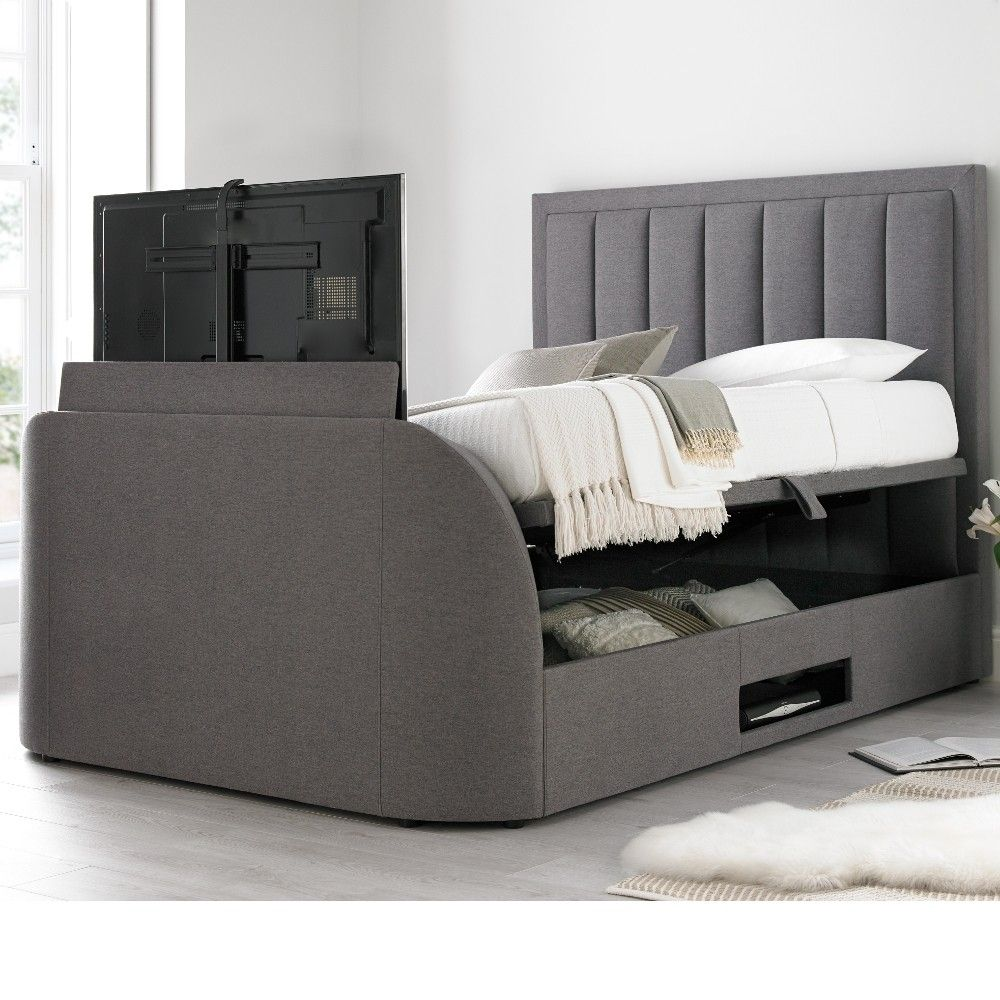 Outstanding Ventura Grey Fabric Ottoman Tv Bed Tv Ottoman Beds Tv Camellatalisay Diy Chair Ideas Camellatalisaycom
