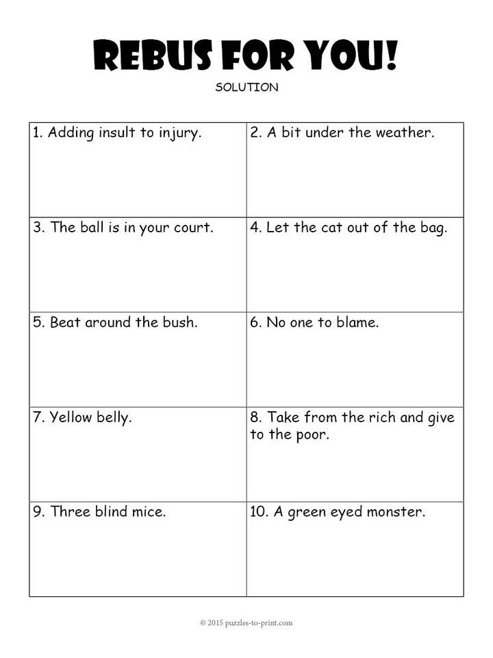 Rebus Worksheet 3 | education | Pinterest | Rebus puzzles ...