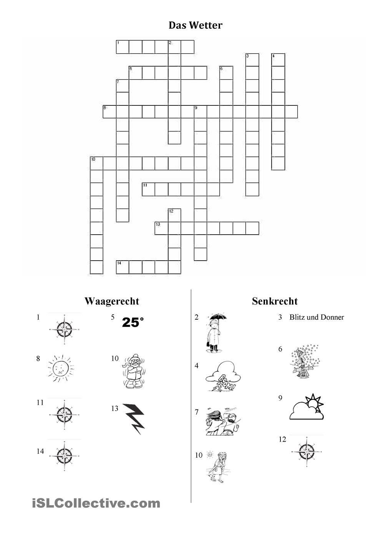 Das Wetter-Kreuzworträtsel | DAZ | Pinterest | Wetter, Deutsch und ...