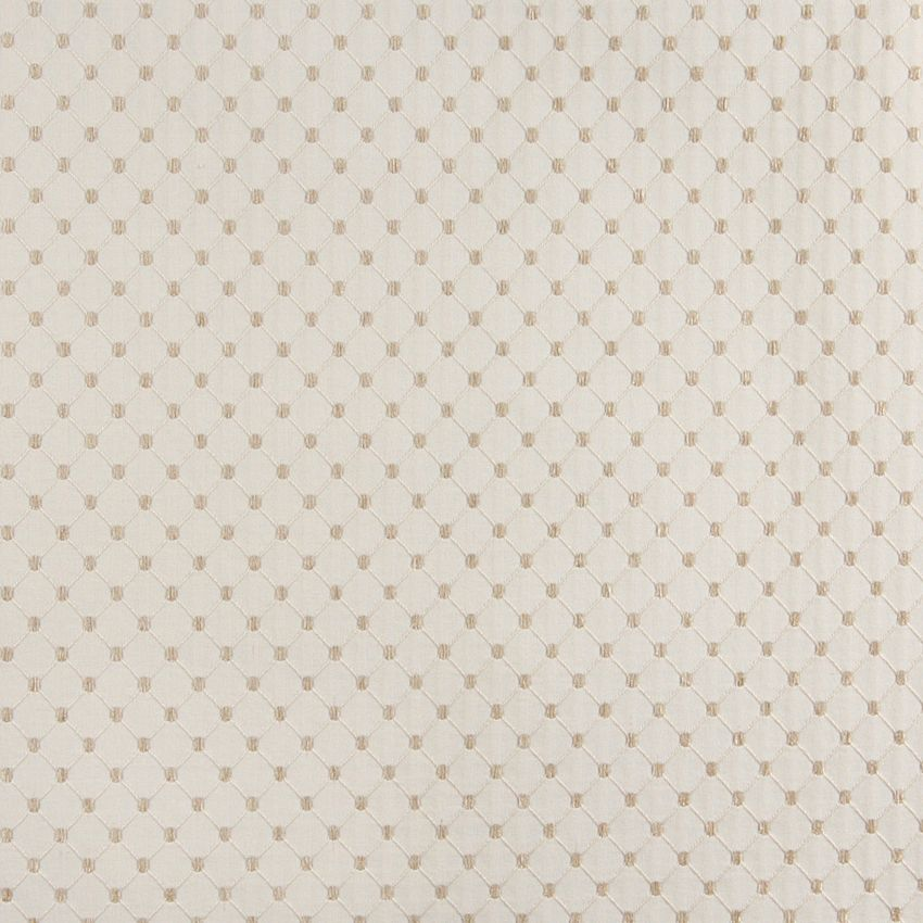 Oyster Diamond Beige and White Abstract  Chenille Upholstery Fabric