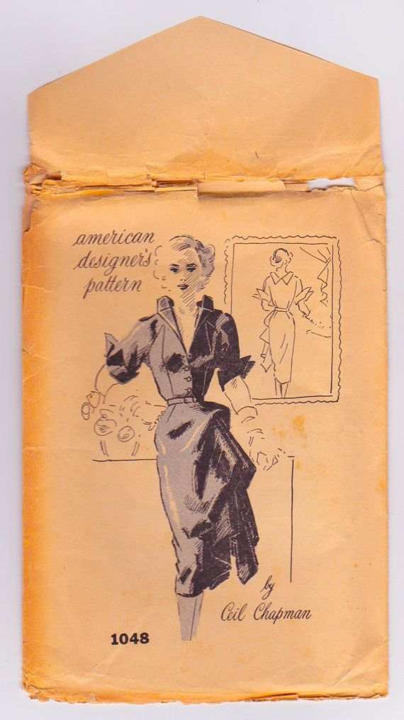Ceil Chapman for American Designer Patterns 1048 Vintage Dress Sewing Pattern Dated 1950 Bust 28 Inches UNCUT