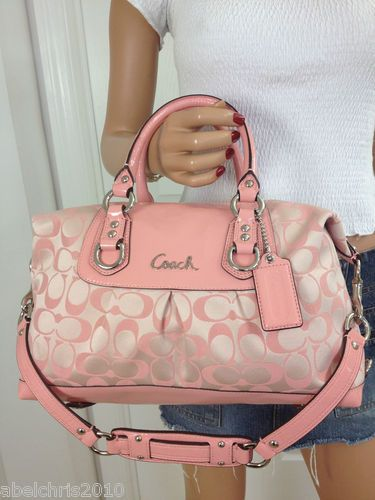c7c915a4f56a COACH ASHLEY PINK PEONY MEDIUM SIGNATURE SATEEN SATCHEL SHOULDER BAG PURSE