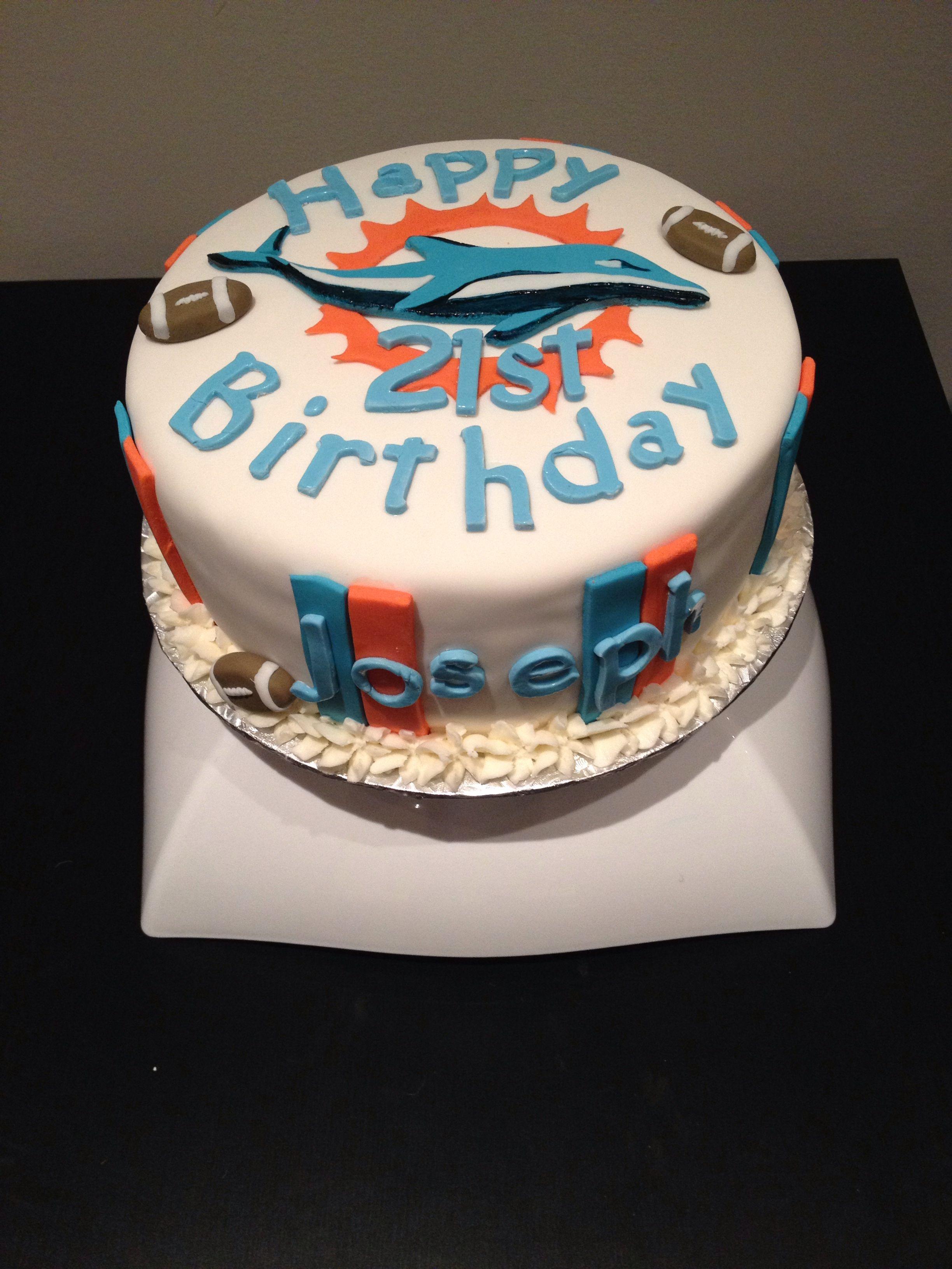 Miami Dolphins Birthday Cake Cakes Pinterest Dolphin Birthday