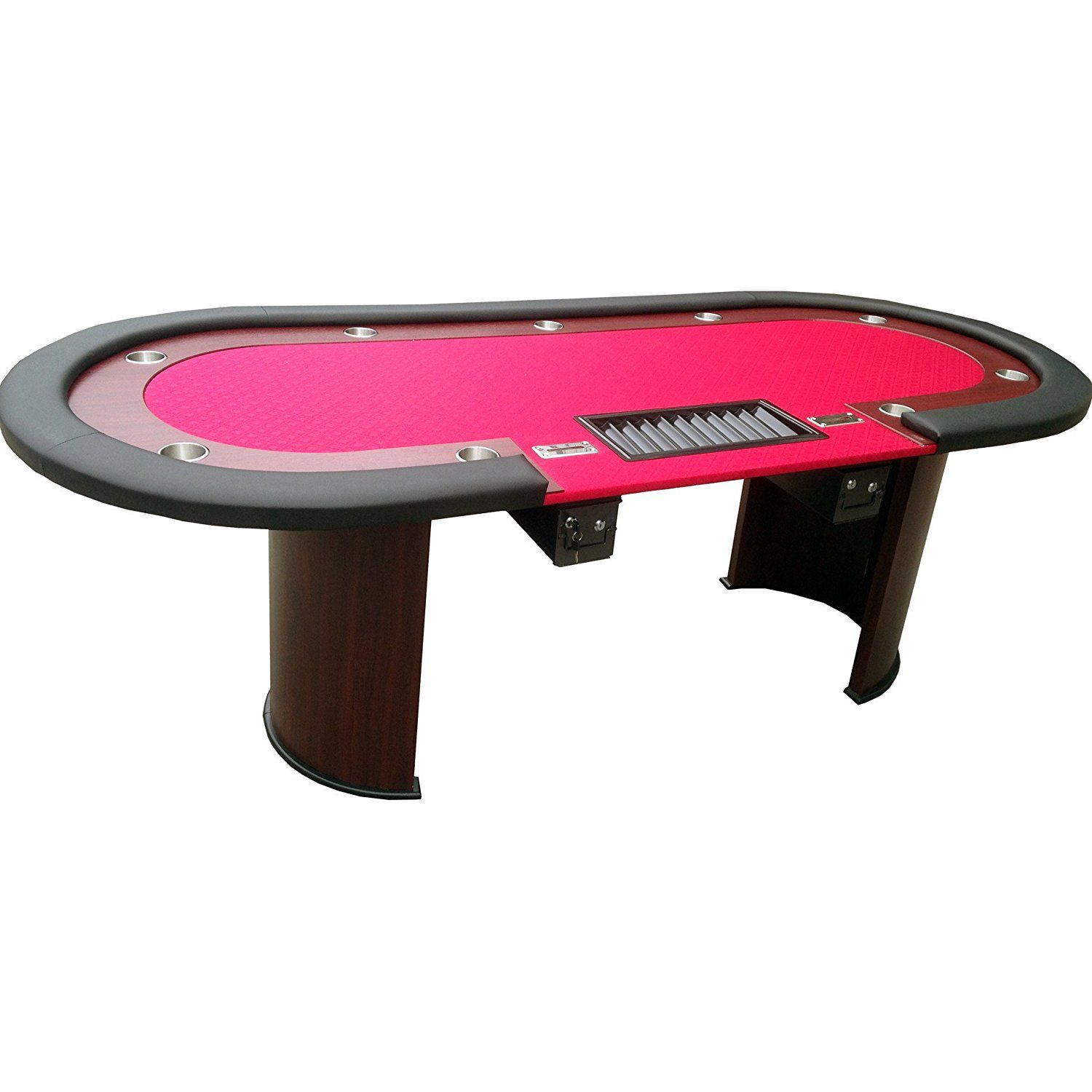 Professional Solid Wood Poker Table 10 Players Dining Top With One Steel Toke Drop Box Best Poker Table 96 X 43