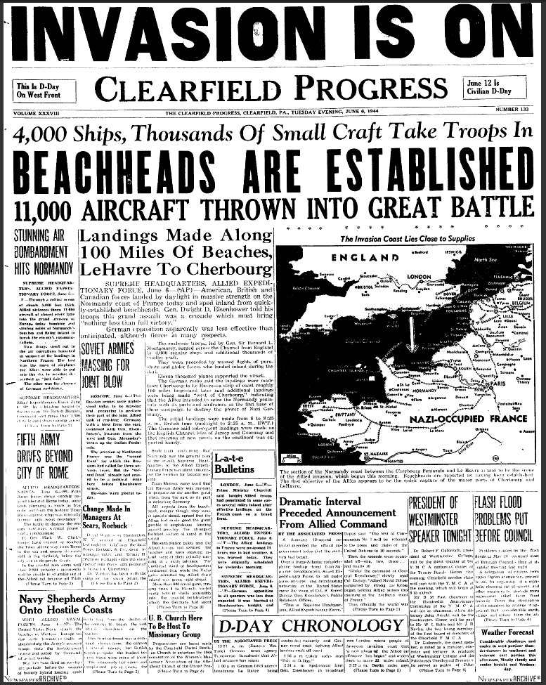 This is a picture of a newspaper page. An article on D-Day ...