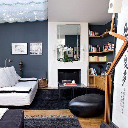 un salon contemporain aux couleurs panachees
