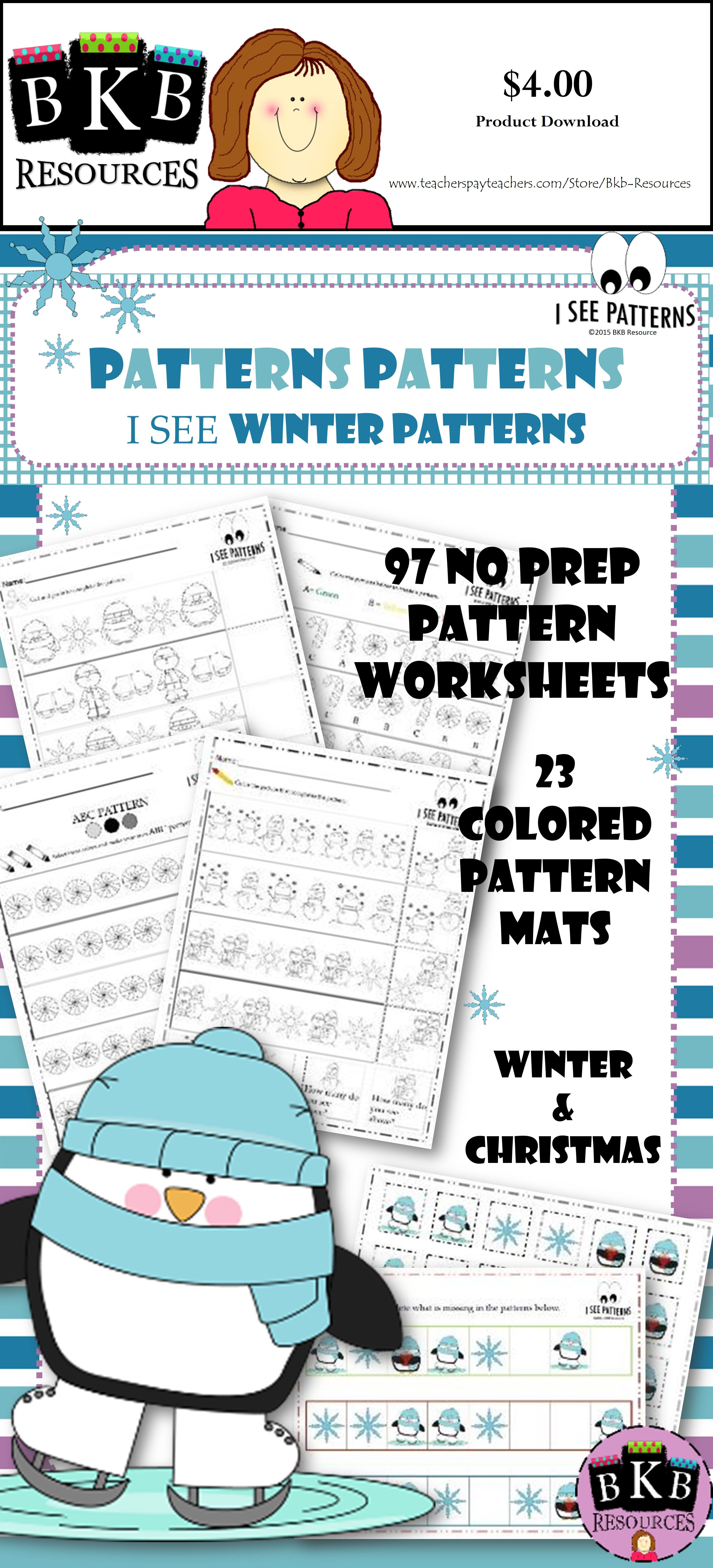 Winter Math Centers Ab Patterns No Prep Worksheets Winter