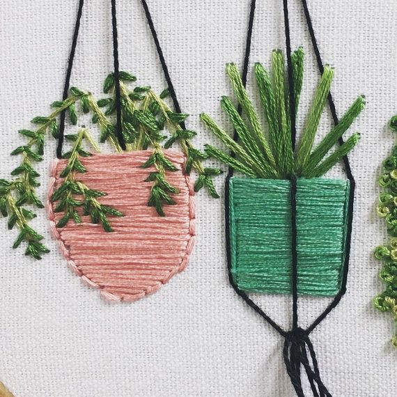 Hanging plants in pots embroidery wall garden pastel