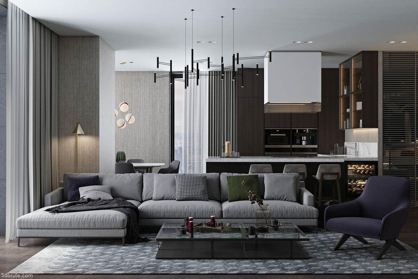 Modern High Grade Ash Such A Simple Decoration Design Really Beautiful Download 3d Models Fre Loft Interior Design Living Room Decor Modern Loft Interiors