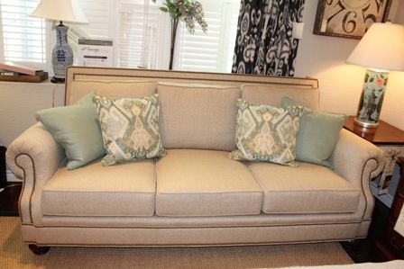cream leather sofa with nailhead trim | Harden domaine sofa in beige ...
