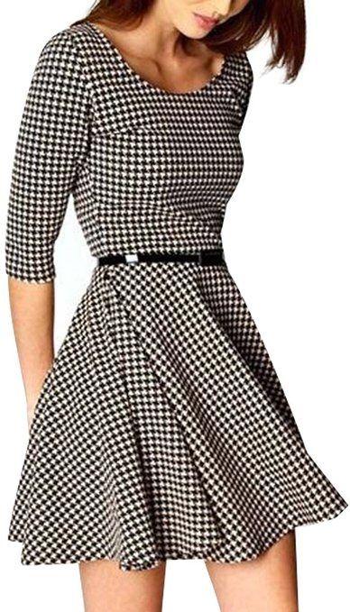 Women Fashion Crew Neck Three Quarter Sleeve Plaid Dresses(With Belt)