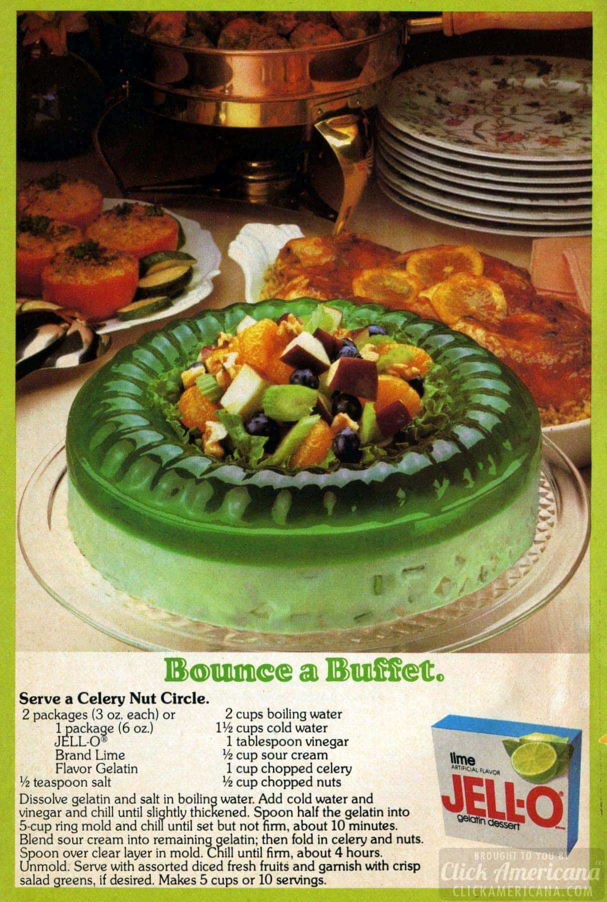 This 70s Jell O Celery Nut Circle Gelatin Mold Combines Lime Jello With Sour Cream Nuts And Celery Recipe Lime Jello Salads Sour Cream Jell O