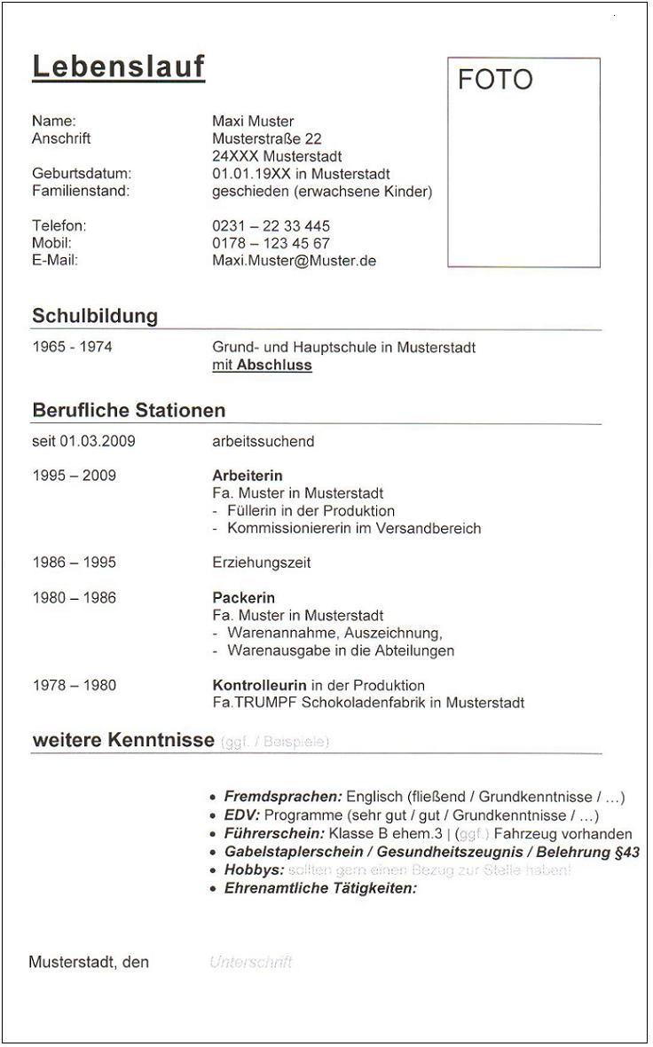 Schlichter Lebenslauf mit Foto Helfer / Arbeiter / Verpacker /  Kommissionierer aaArbeit ID 446 | Schriftart Arial Seite 1/1