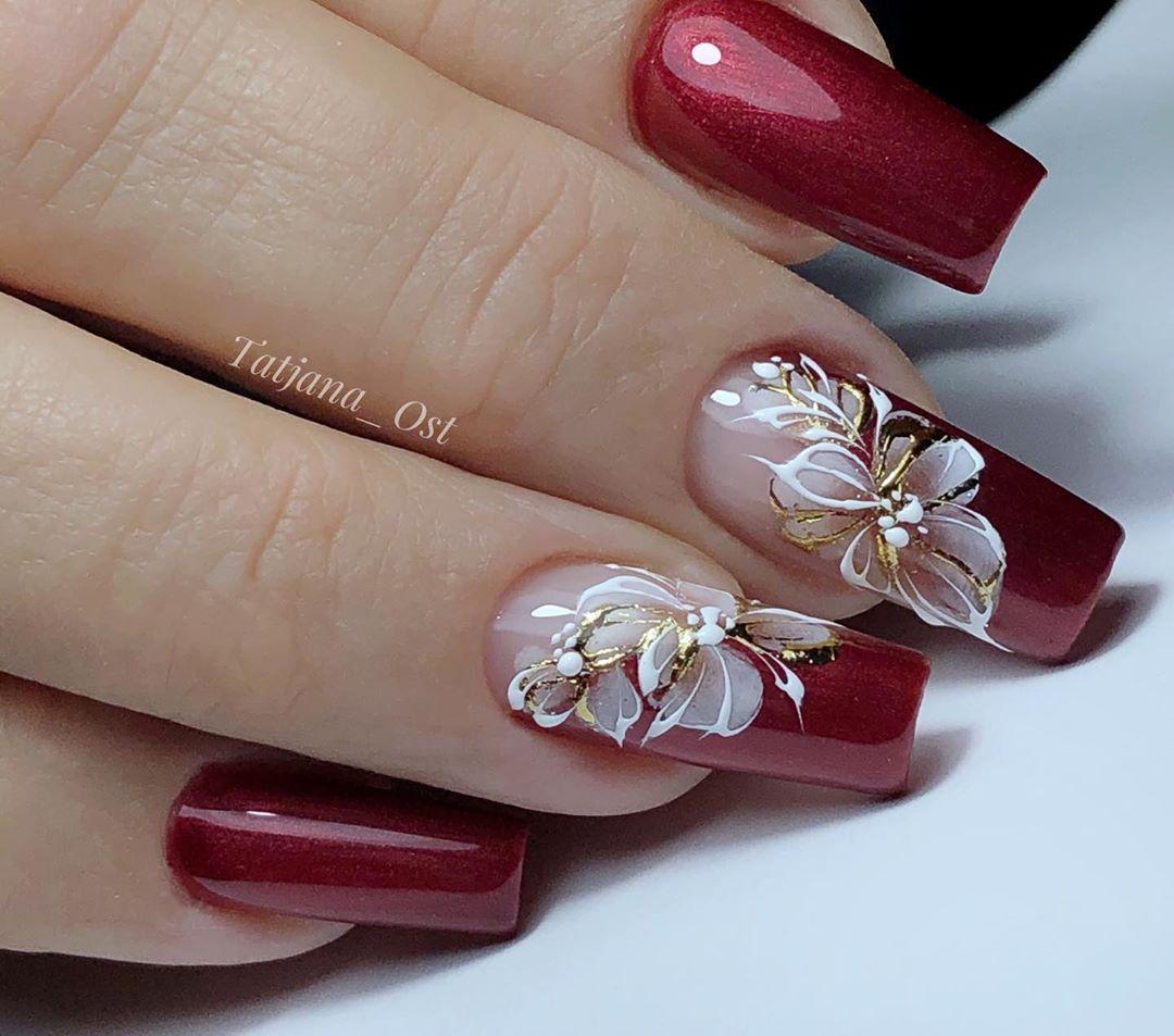 Krasivye Nogti Manikyur Divanail Elegant Nail Art Red Acrylic Nails Golden Nails