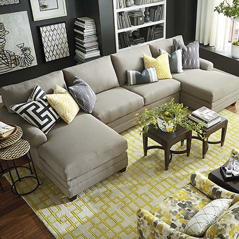 Hgtv Home Design Studio Cu 2 Double Chaise Sectional By Bassett Furniture Living Room Seating
