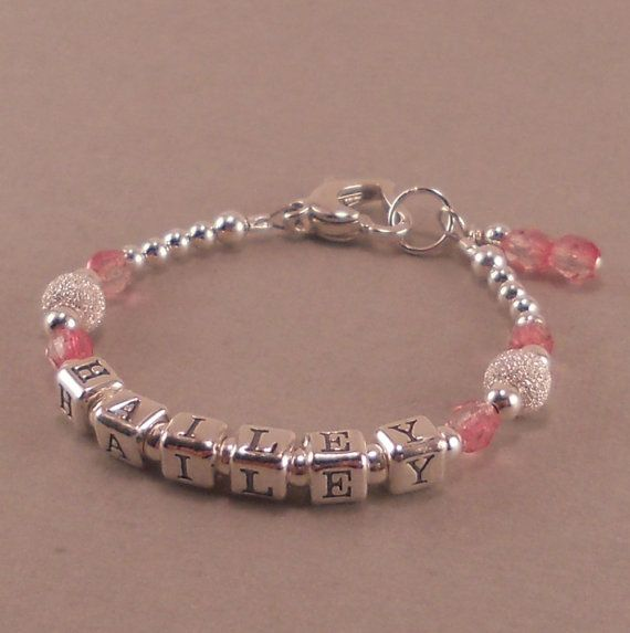 Baby Girl Gift, Name Bracelet, Sterling Silver, 1st First