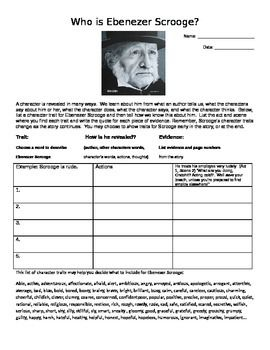 Excellent Character Analysis Sheet Review Ebenezer Scrooge In A Christmas Carol By Charles Dickens This Is Christmas Carol Citing Evidence Character Analysis