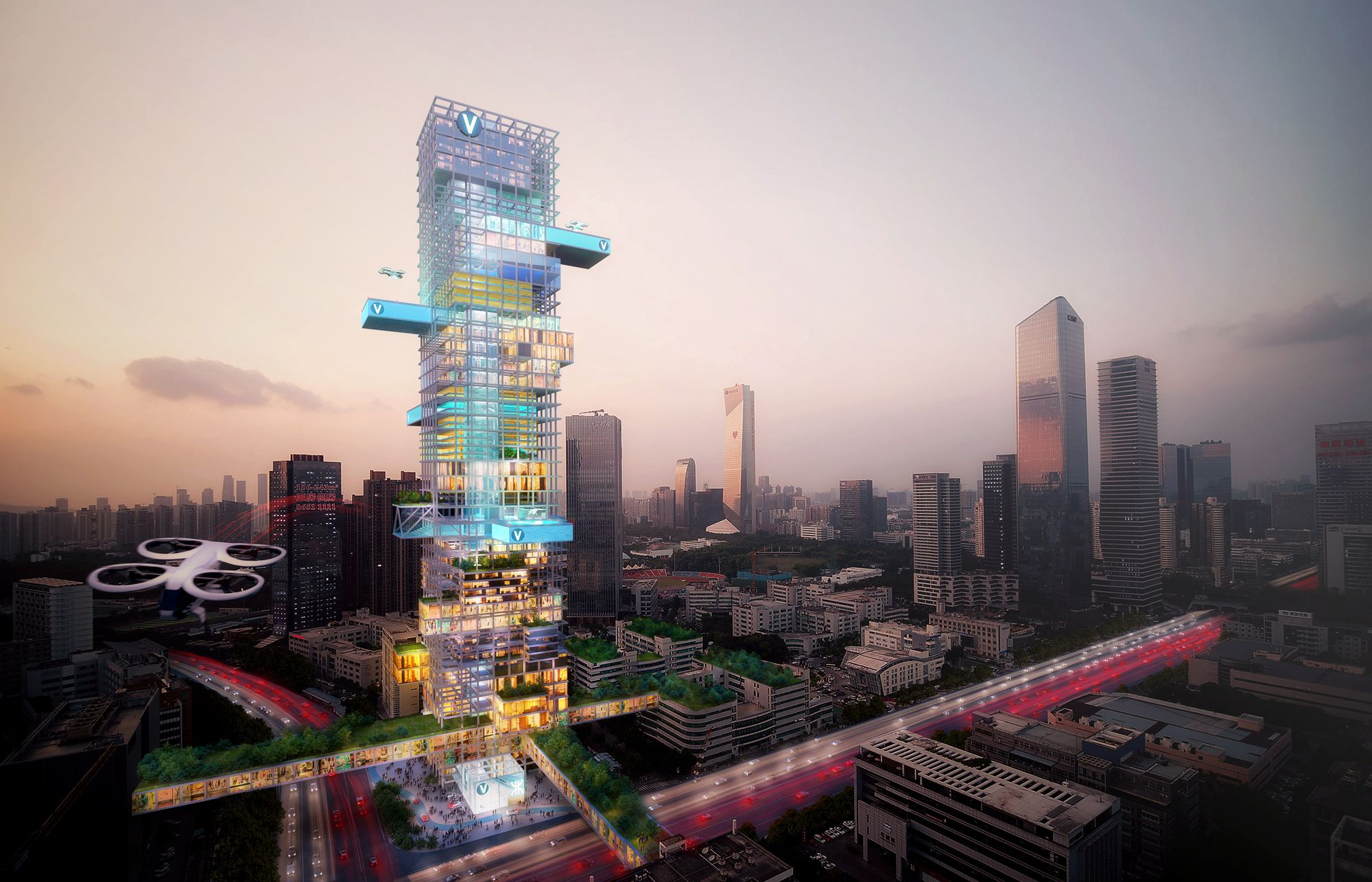MVRDV and Airbus Integrate Air Mobility into Urban