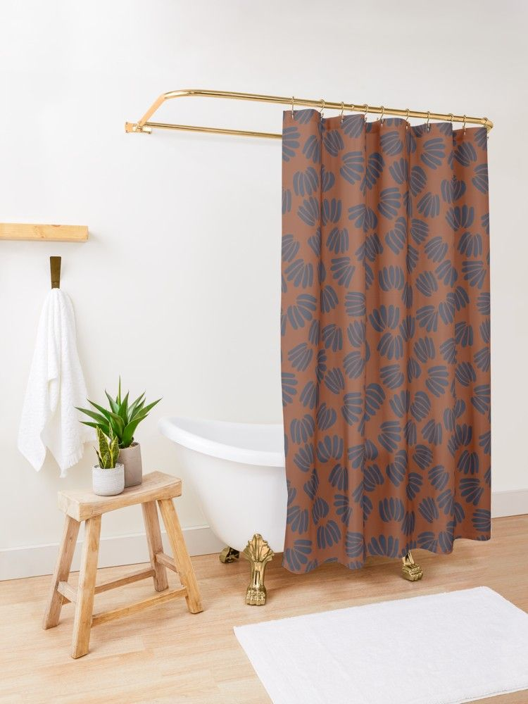 Navy And Rust Abstract Floral Ii Small Pattern Shower Curtain