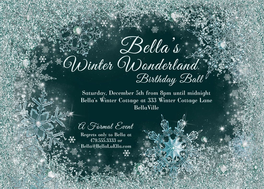 winter wonderland party invitations - Google Search | crystal ...