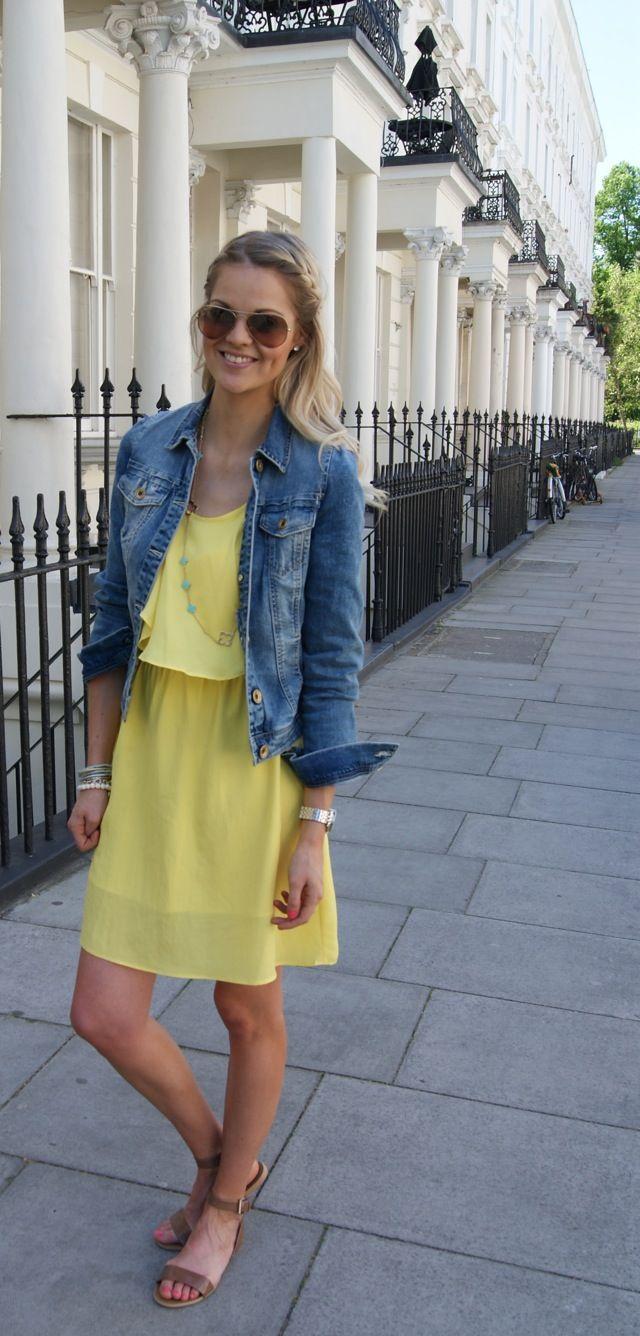 Pin By Alexandra Tello On Looks Denim Jacket With Dress Jacket Dress Fashion [ 1336 x 640 Pixel ]