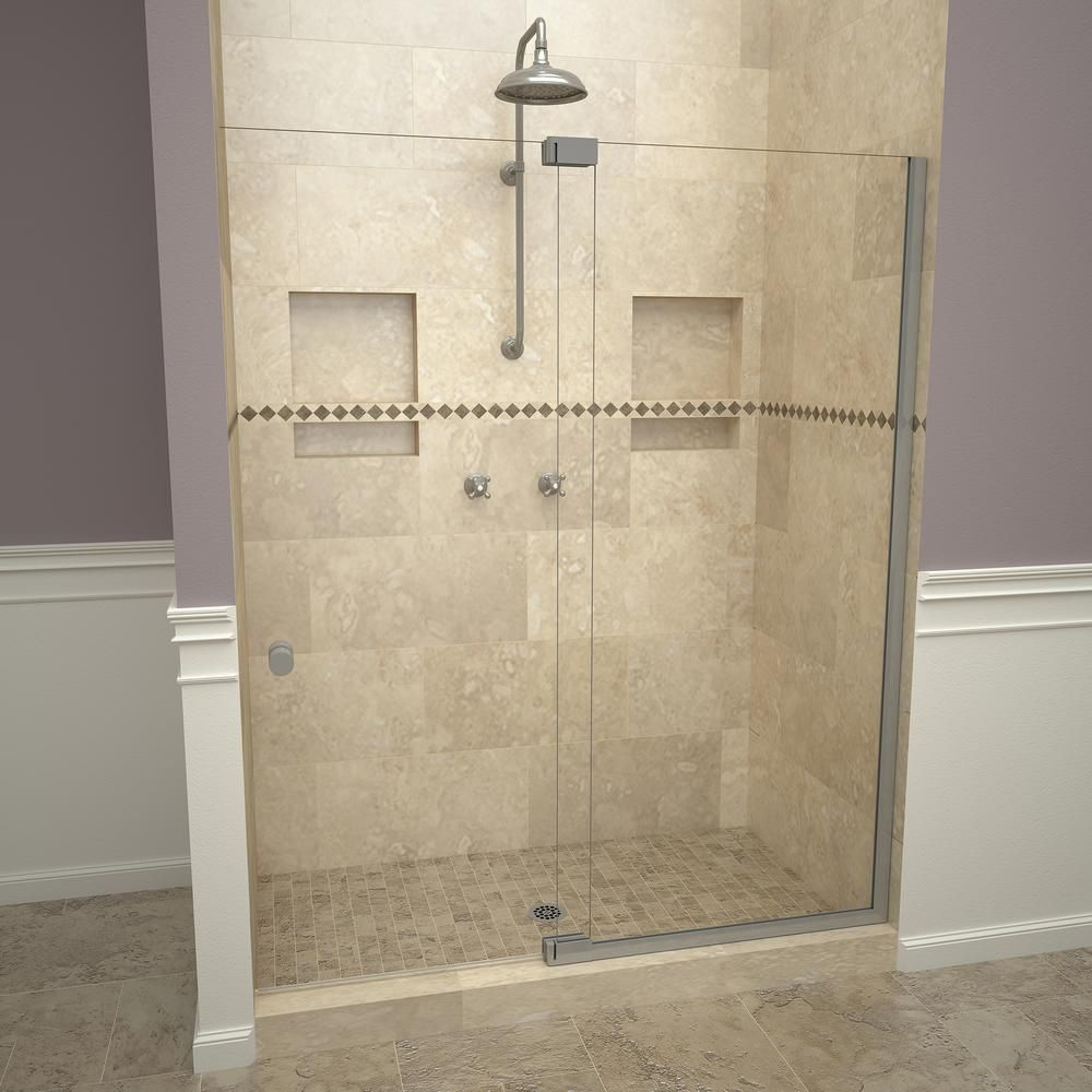 Redi Swing 2900V Series 48 in. W x 76 in. H Semi-Frameless Offset Pivot Hinge Shower Door in Brushed Nickel with Knobs-29VCBNP04876 #framelessslidingshowerdoors