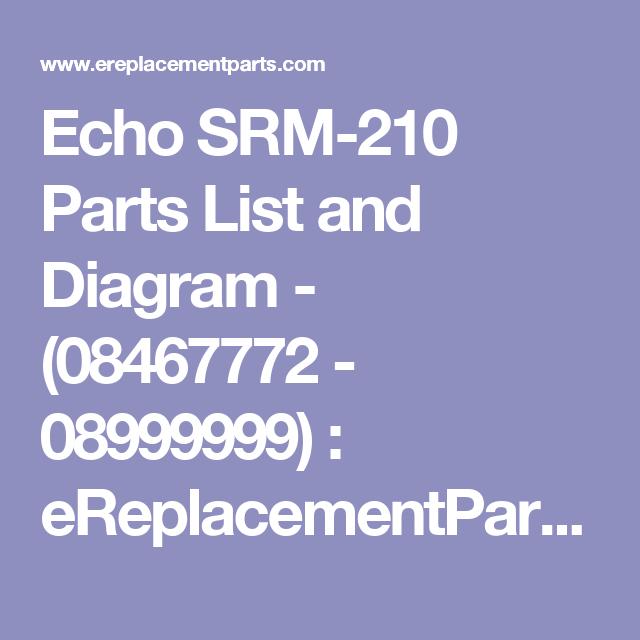 Echo SRM-210 Parts List and Diagram - (08467772 - 08999999 ...