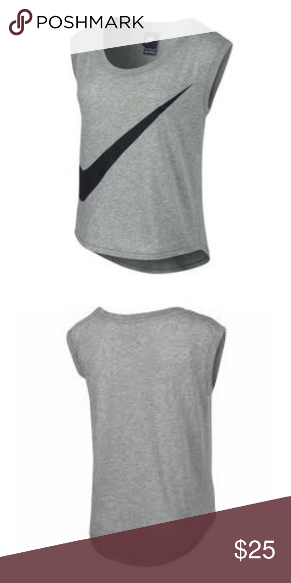 7ee128f073ca84 NIKE 🆕 Gray Swoosh Cropped Signal Muscle Tank Top NEW WITH TAGS NIKE  Signal Muscle Tank