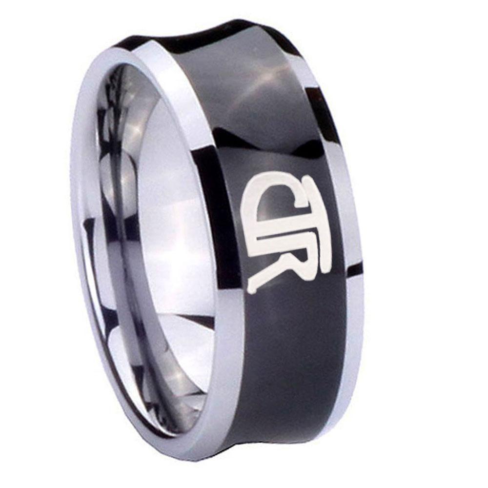 10mm ctr concave black tungsten carbide mens wedding band