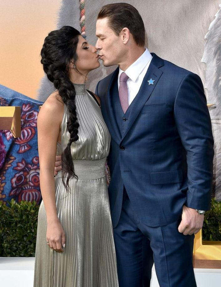 John Cena Gives Girlfriend Shay Shariatzadeh A Sweet Kiss At Dolittle Premiere In L A In 2020 John Cena New Girlfriend Premiere