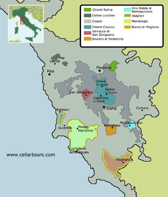 Tuscany map courtesy of cellartourscom Cuisine Pinterest