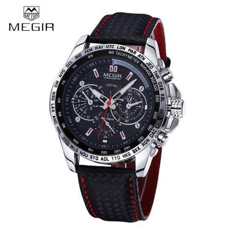 5379257f94d Relógios Únicos · Marca · MEGIR Sports Brand Quartz Mens Watches Top Brand  Luxury Quartz-watch Clock Leather Strap Male