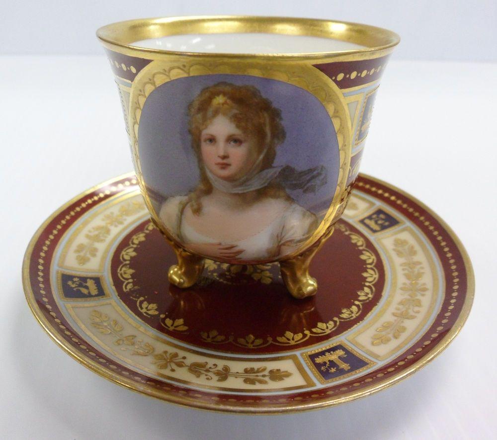 ROYAL VIENNA 1850-1899 Footed Demitasse Cup Saucer Set Porcelain PORTRAIT RARE #RoyalViennastyle
