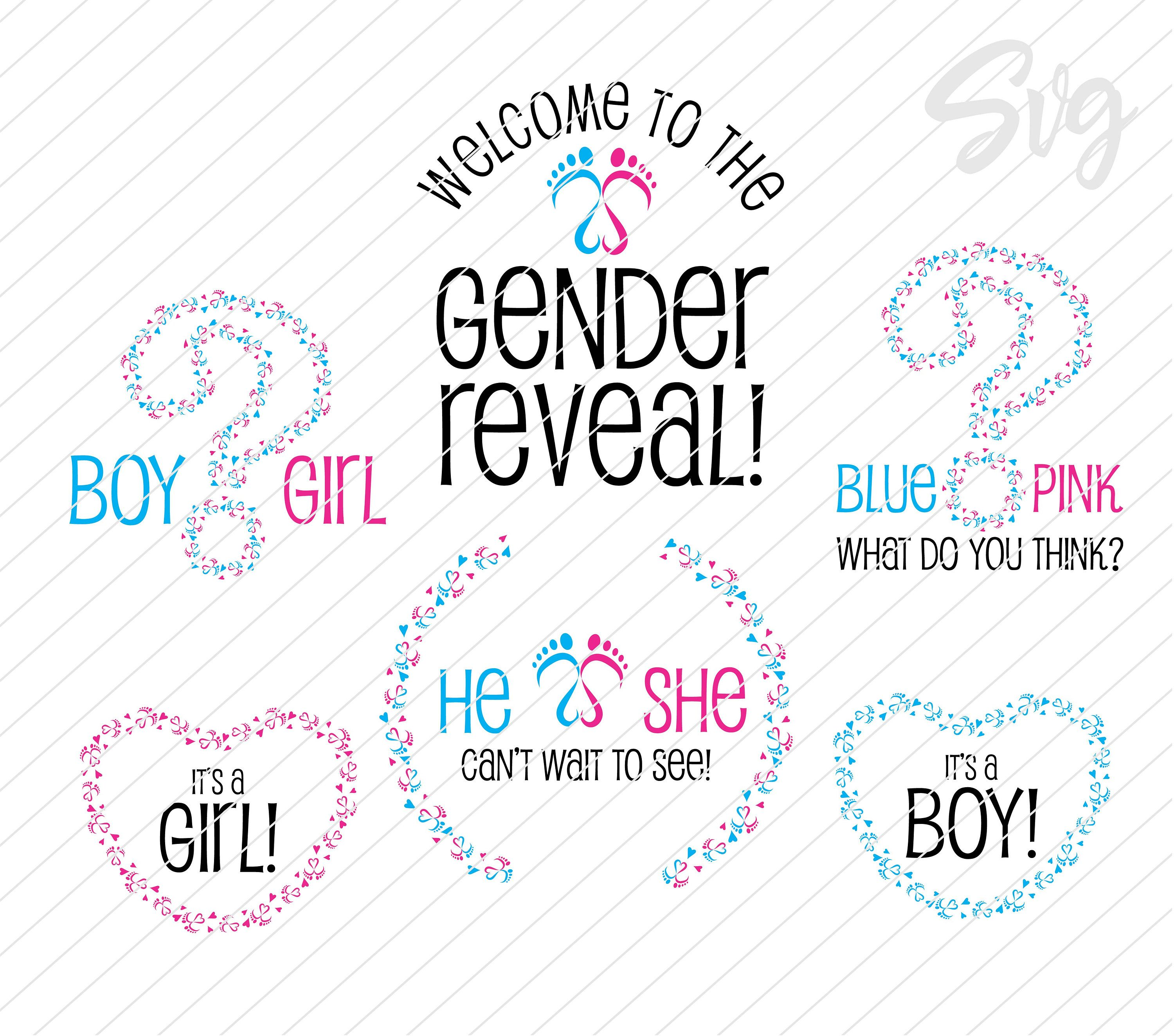 He or She Gender Reveal svg bundle Baby feet in shape of