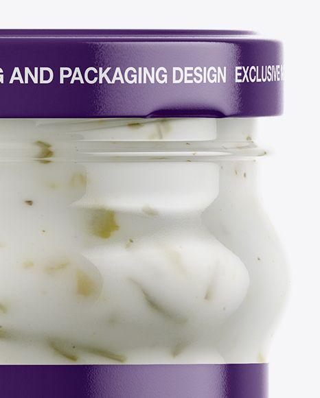 Clear Glass Jar with Garlic Sauce Mockup
