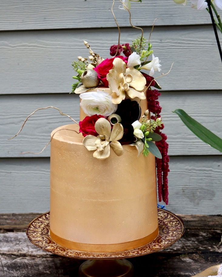 Gold Buttercream Wedding Cake With Fresh And Gumpaste Flowers By Sablee