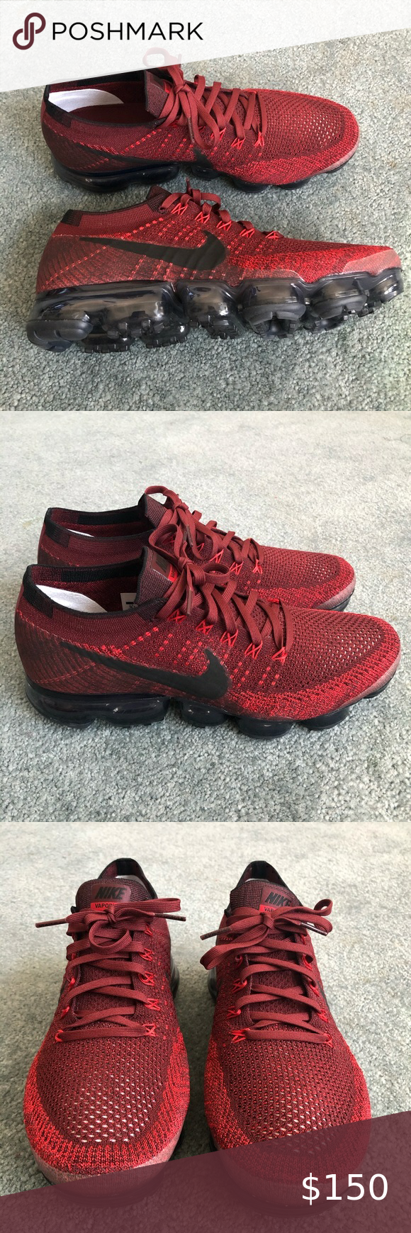 Nike Vapormax Flyknit Dark Team Red Black In 2020 Nike Vapormax Flyknit Black And Red Black Nikes