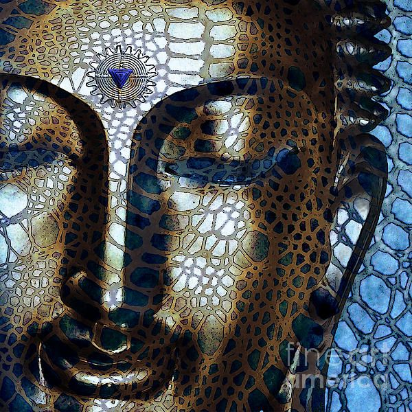 Web Of Dharma - Modern Blue Buddha Art by Christopher Beikmann